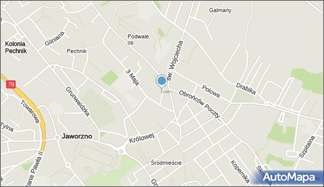 Jaworzno, Krzywa, mapa Jaworzno