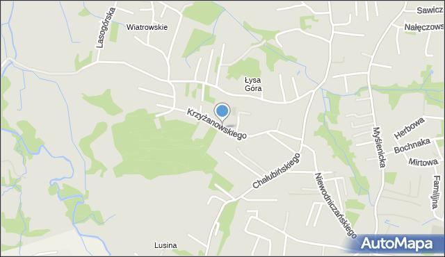 Kraków, Krzyżanowskiego Adama, mapa Krakowa