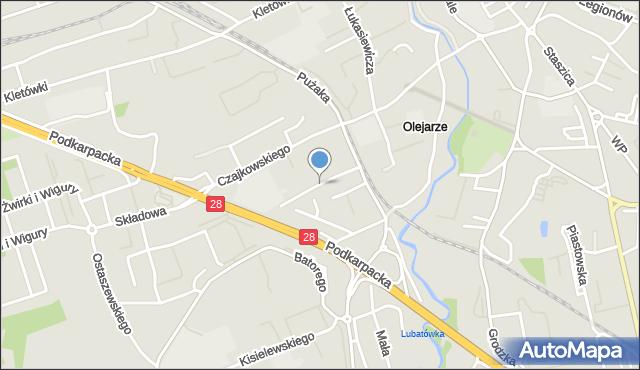 Krosno, Krukierka Jędrzeja, mapa Krosna