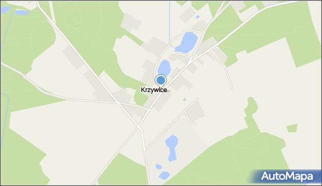 Krzywice gmina Osina, Krzywice, mapa Krzywice gmina Osina