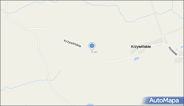 Krzywińskie gmina Prostki, Krzywińskie, mapa Krzywińskie gmina Prostki