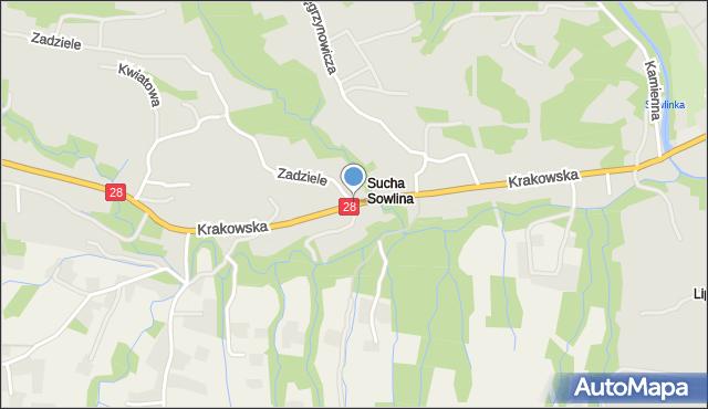 Limanowa, Krakowska, mapa Limanowa