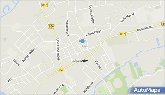 Lubaczów, Krótka, mapa Lubaczów