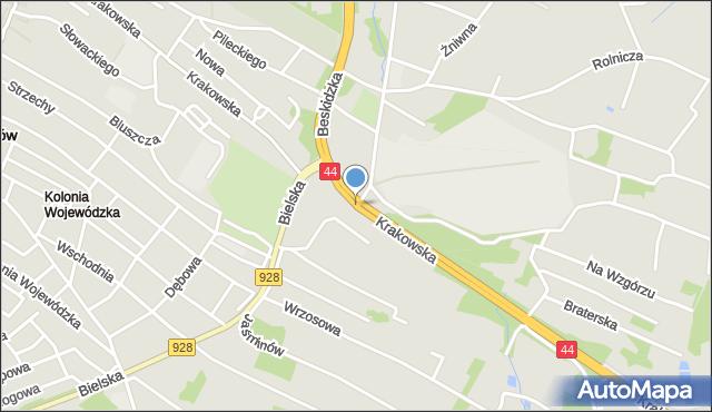 Mikołów, Krakowska, mapa Mikołów