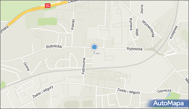 Mikołów, Krzywa, mapa Mikołów