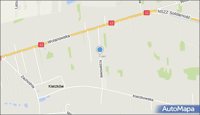 Radom, Krzemowa, mapa Radomia