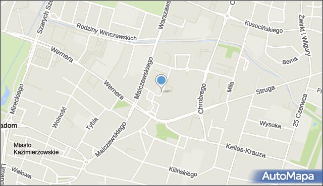 Radom, Krukowskiego Włodzimierza, prof., mapa Radomia