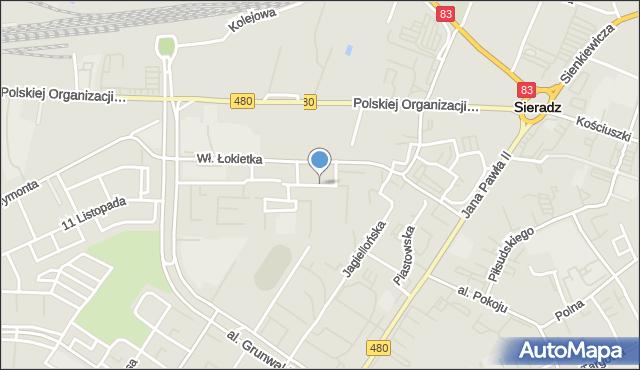 Sieradz, Króla Władysława Łokietka, mapa Sieradz