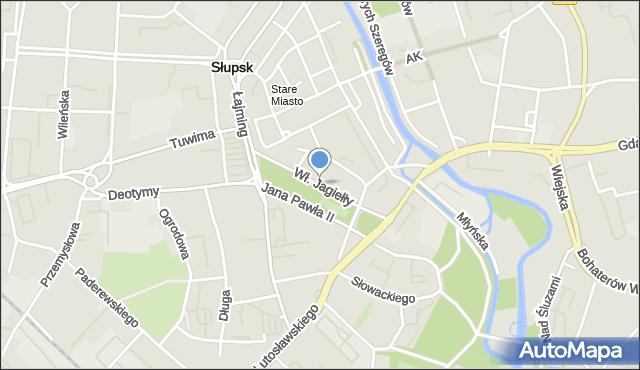 Słupsk, Króla Władysława Jagiełły, mapa Słupska