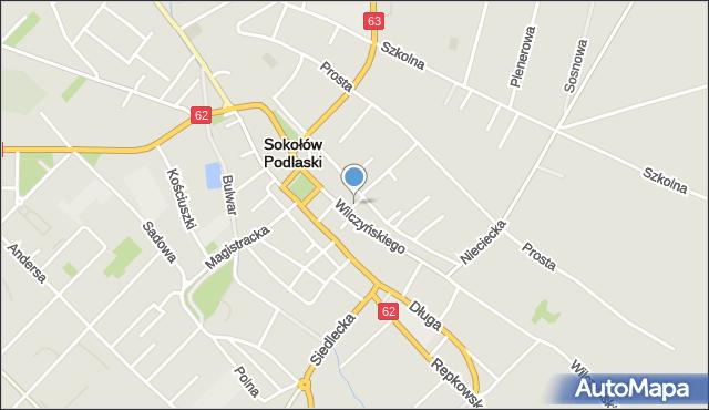 Sokołów Podlaski, Krótka, mapa Sokołów Podlaski