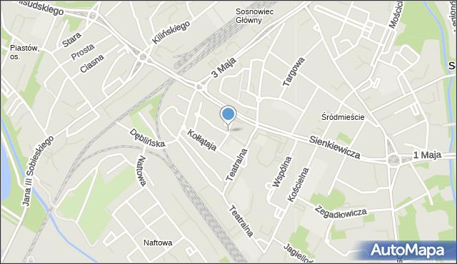 Sosnowiec, Krzywa, mapa Sosnowca