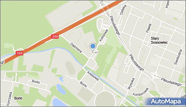 Sosnowiec, Kresowa, mapa Sosnowca