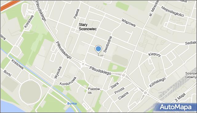 Sosnowiec, Królewska, mapa Sosnowca