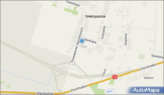 Srebrzyszcze, Krótka, mapa Srebrzyszcze