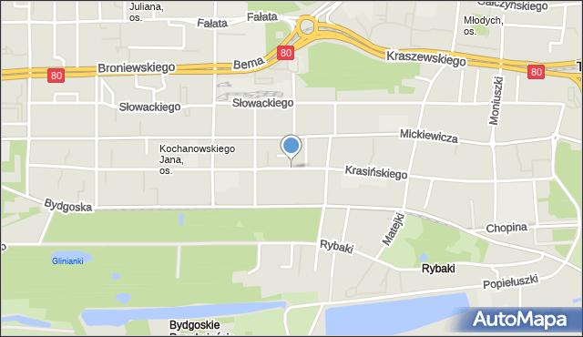 Toruń, Krasińskiego Zygmunta, mapa Torunia