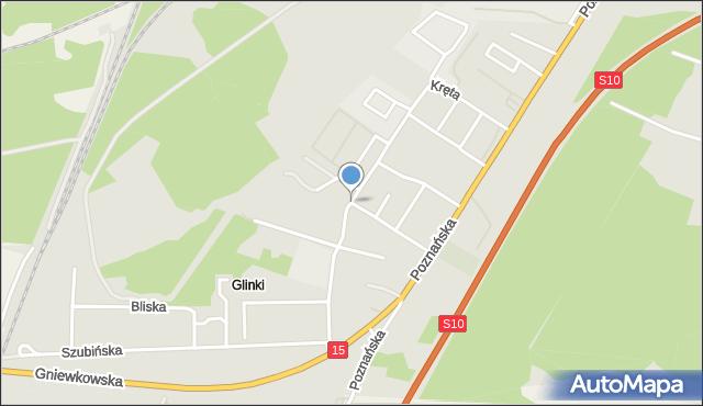 Toruń, Kręta, mapa Torunia