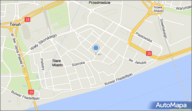 Toruń, Królowej Jadwigi, mapa Torunia