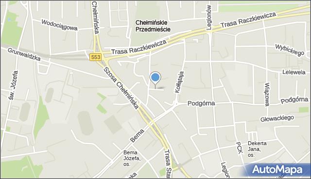 Toruń, Krótka, mapa Torunia