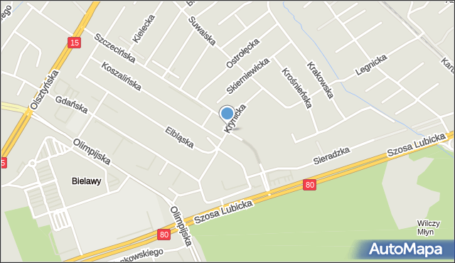 Toruń, Krynicka, mapa Torunia