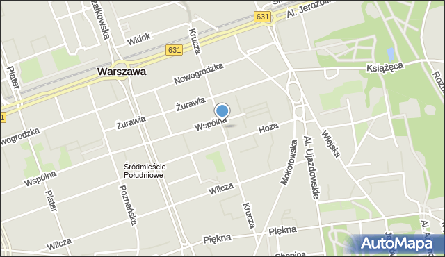 Warszawa, Krucza, mapa Warszawy