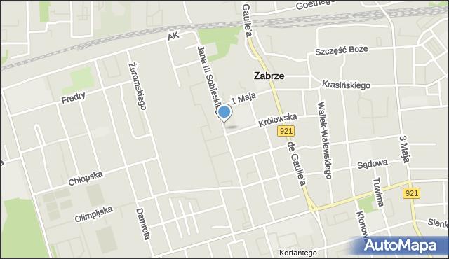 Zabrze, Króla Jana III Sobieskiego, mapa Zabrza