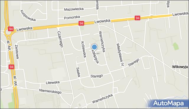Rzeszów, Książęca, mapa Rzeszów