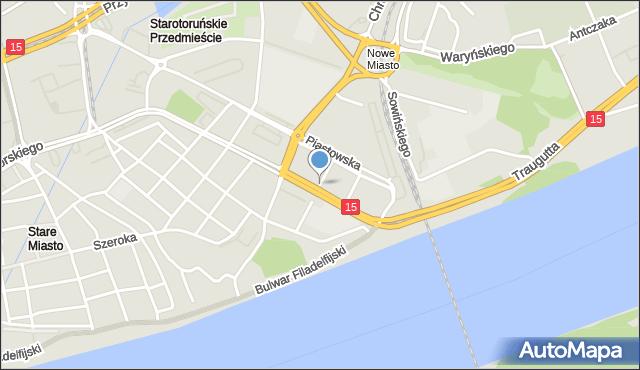 Toruń, Księcia Józefa Poniatowskiego, mapa Torunia