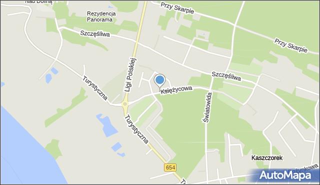 Toruń, Księżycowa, mapa Torunia