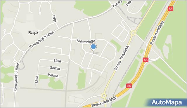Grudziądz, Kulerskiego Wiktora, mapa Grudziądza