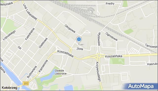 Kołobrzeg, Kupiecka, mapa Kołobrzegu