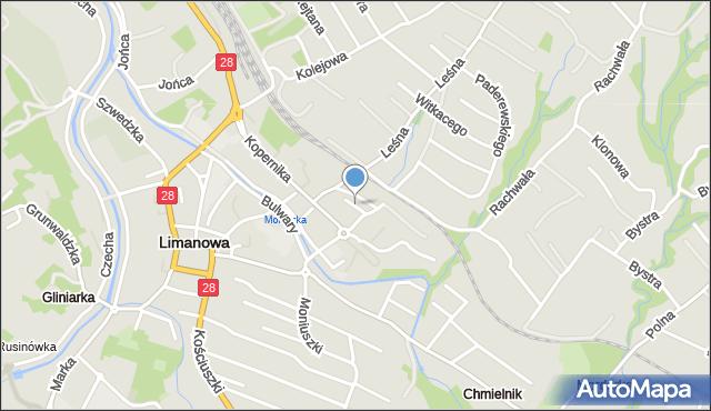 Limanowa, Kubali Ludwika, mapa Limanowa