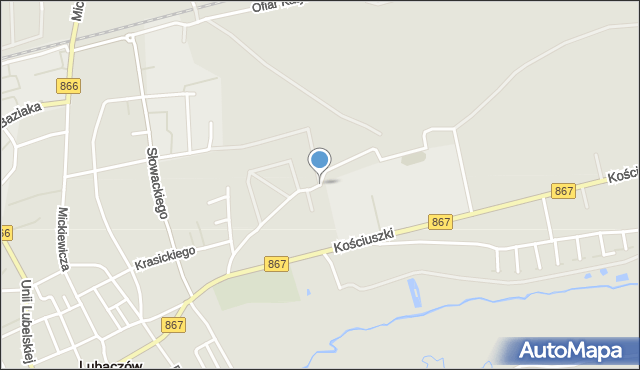 Lubaczów, Kurierów Armii Krajowej, mapa Lubaczów