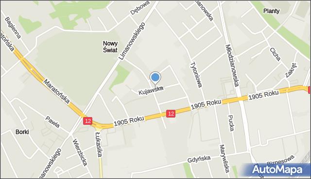Radom, Kujawska, mapa Radomia