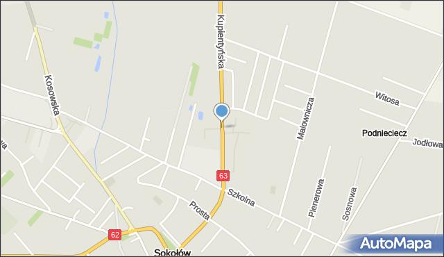 Sokołów Podlaski, Kupientyńska, mapa Sokołów Podlaski