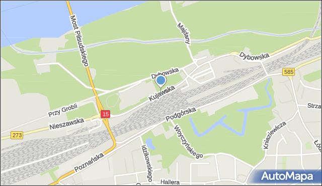Toruń, Kujawska, mapa Torunia