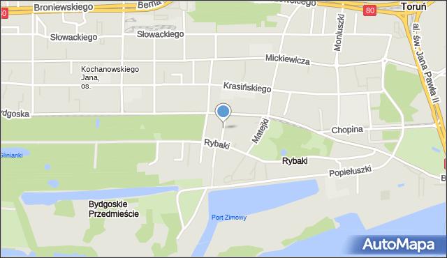 Toruń, Kujota Stanisława, ks., mapa Torunia