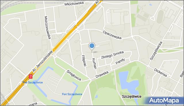 Warszawa, Kurhan, mapa Warszawy