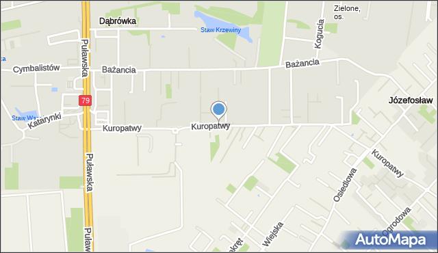 Warszawa, Kuropatwy, mapa Warszawy