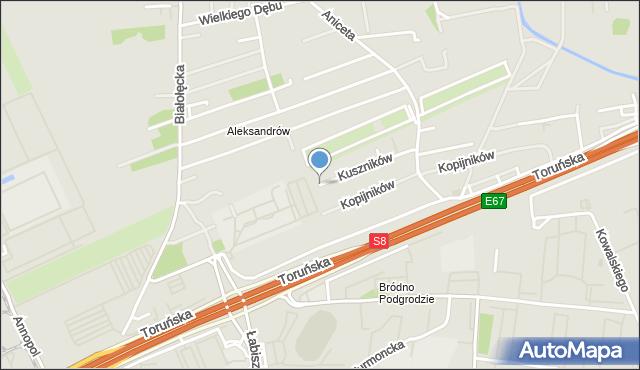 Warszawa, Kuszników, mapa Warszawy