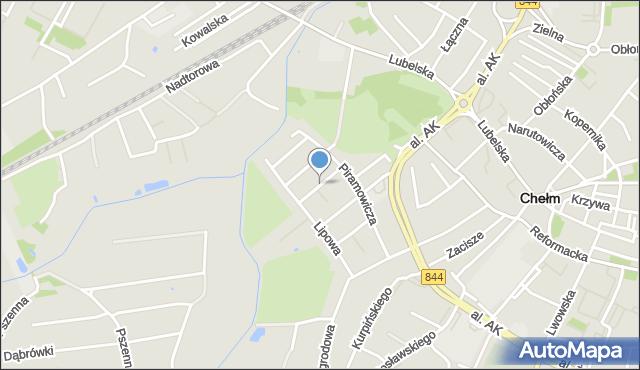 Chełm, Kwiatowa, mapa Chełma