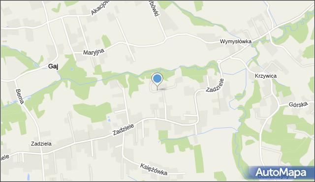 Gaj gmina Mogilany, Kwiatowa, mapa Gaj gmina Mogilany