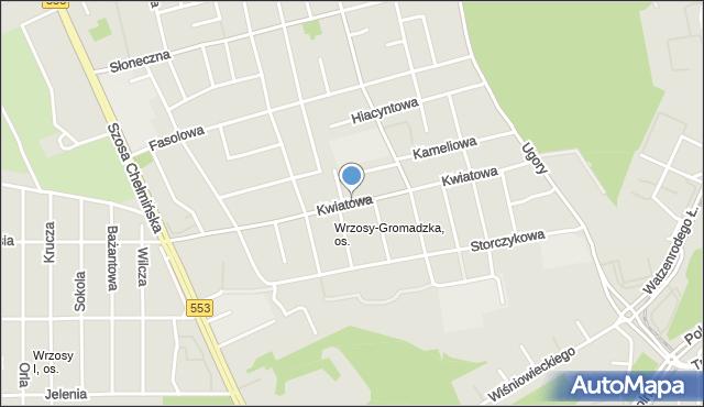 Toruń, Kwiatowa, mapa Torunia