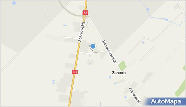 Żanecin, Kwiatowa, mapa Żanecin