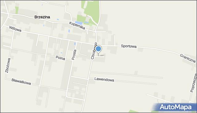 Brzezina gmina Miękinia, Łąkowa, mapa Brzezina gmina Miękinia