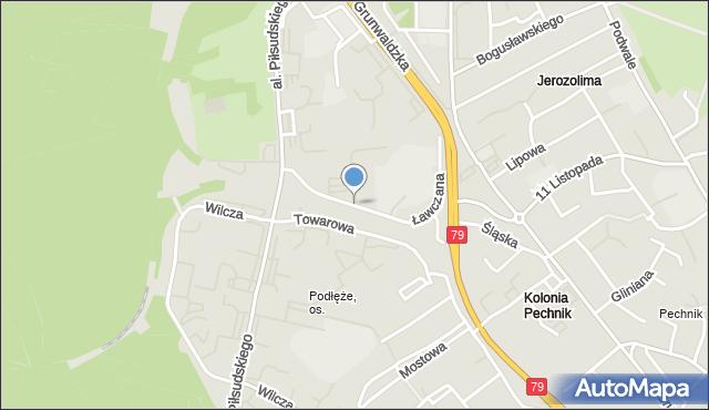 Jaworzno, Ławczana, mapa Jaworzno