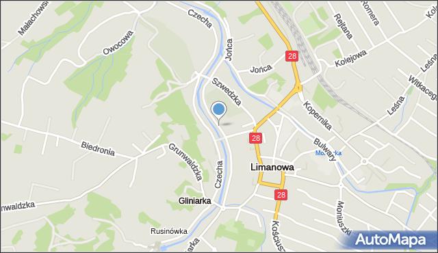 Limanowa, Łazarskiego Kazimierza, ks., mapa Limanowa
