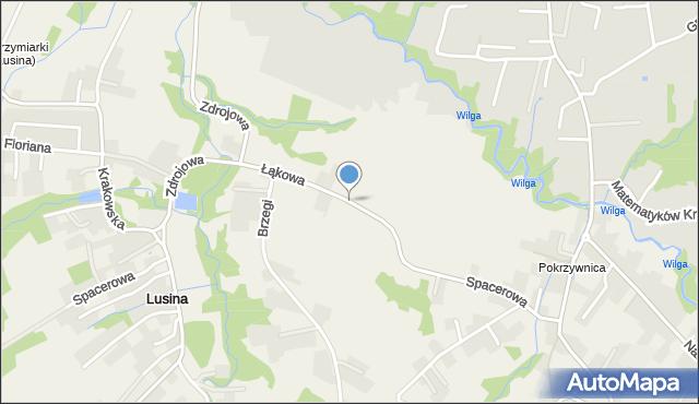 Lusina gmina Mogilany, Łąkowa, mapa Lusina gmina Mogilany