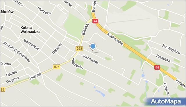 Mikołów, Lawendowa, mapa Mikołów