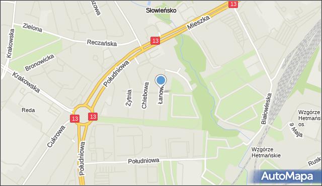 Szczecin, Łanowa, mapa Szczecina