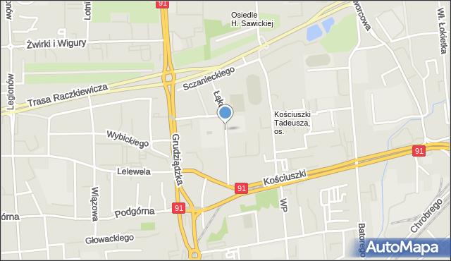 Toruń, Łąkowa, mapa Torunia